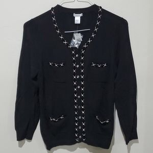 ❤NWT! CACHE CHAIN/VELVET ROPE DETAIL CARDIGAN/TOP